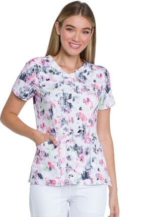 Dynamix by Dickies Women's Mock Wrap Abstract Print Scrub Top
