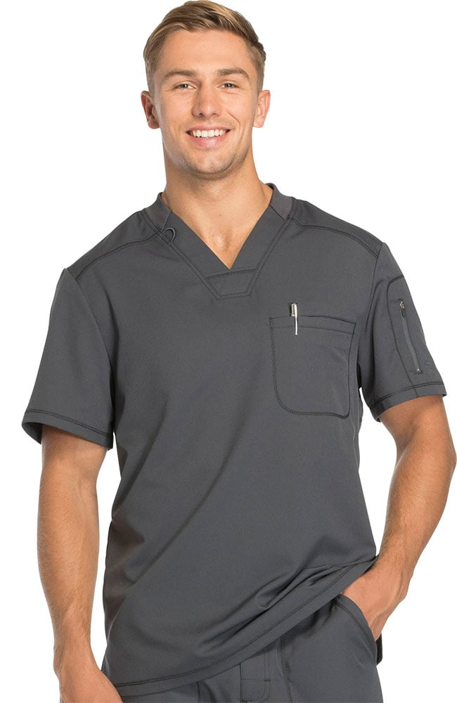 0c9a117d36e Dynamix by Dickies Men's V-Neck Solid Scrub Top