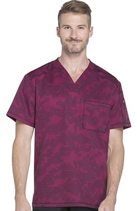 Clearance Dynamix by Dickies Men's V-Neck Geometric Print Scrub Top
