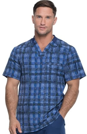 Dynamix by Dickies Men's V-Neck Positively Plaid Navy Print Scrub Top