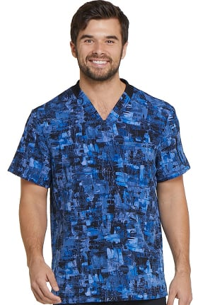Fashion Prints by Dickies Men's V-Neck Plaid Print Scrub Top