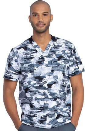 Dynamix by Dickies Men's Stone Cold Camo Pewter Print Scrub Top