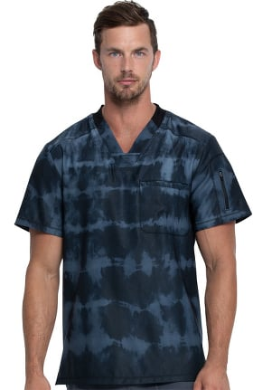 Dynamix by Dickies Men's Tie Dye Stripes Pewter Print Scrub Top