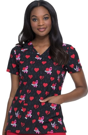 EDS Signature by Dickies Women's V-Neck Be Cause Of You Print Scrub Top