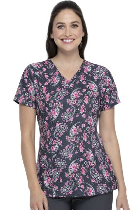 EDS Signature by Dickies Women's Crazy For Paisley Print Scrub Top