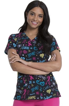 EDS Signature by Dickies Women's Love Cure Hope Print Scrub Top