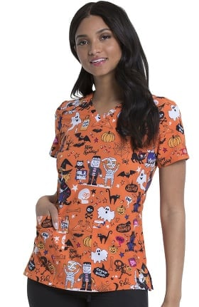 EDS Signature by Dickies Women's Stay Spooky Print Scrub Top