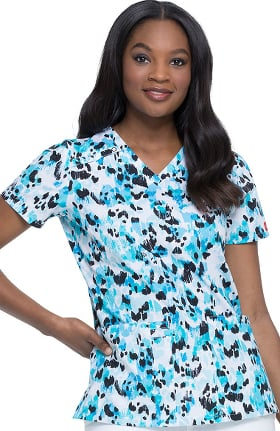 EDS Essentials by Dickies Women's V-Neck Animal Instinct Print Scrub Top