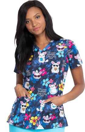 Clearance EDS Essentials by Dickies Women's Chilling Chinchillas Print Scrub Top