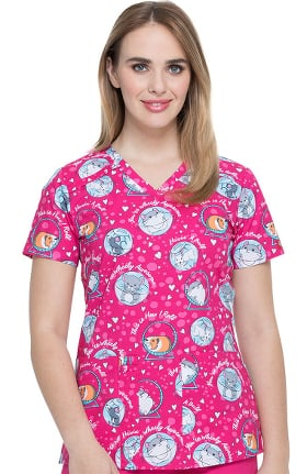 EDS Essentials by Dickies Women's V-Neck They See Me Rollin Print Scrub Top