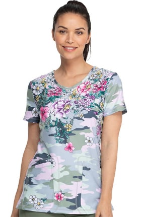 Clearance Dynamix by Dickies Women's Rounded Flower Frenzy Camo Print Scrub Top