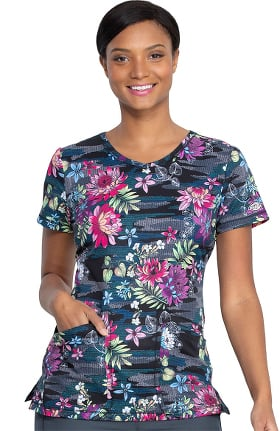 Dynamix by Dickies Women's Tropical Camo-Tion Print Scrub Top