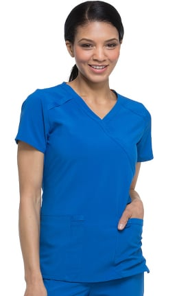 EDS Essentials by Dickies Women's Mock Wrap Solid Scrub Top