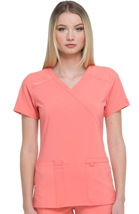 Clearance EDS Essentials by Dickies Women's Mock Wrap Solid Scrub Top