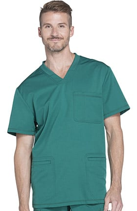 Dynamix by Dickies Men's Connected V-Neck Solid Scrub Top
