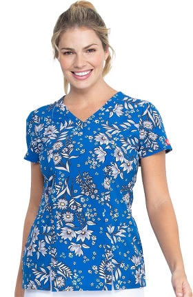 Clearance EDS Essentials by Dickies Women's Bright Like A Daisy Print Scrub Top