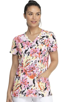 EDS Essentials by Dickies Women's Brilliantly In Bloom Print Scrub Top