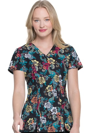 Clearance EDS Essentials by Dickies Women's V-Neck Wild Rose Print Scrub Top