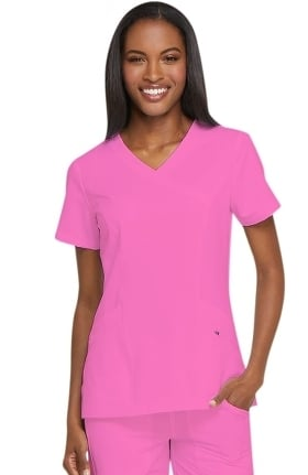 Clearance Dynamix by Dickies Women's Mock Wrap Solid Scrub Top