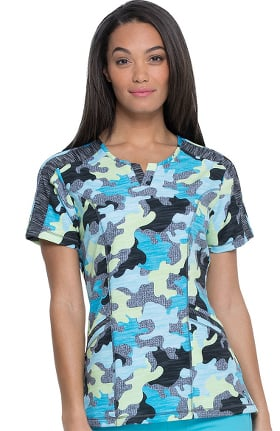 Clearance Dynamix by Dickies Women's Shaped V-Neck Totally Textured Camo Print Scrub Top