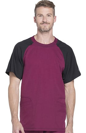 Dynamix by Dickies Men's Crew Neck Colorblock Raglan Sleeve Solid Scrub Top