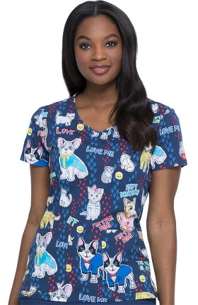 EDS Essentials by Dickies Women's V-Neck Adopt Dont Shop Print Scrub Top