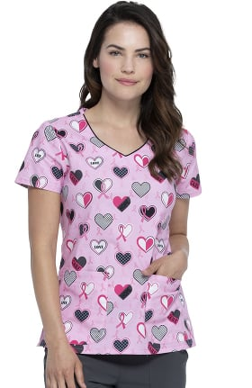 EDS Essentials by Dickies Women's Actively Care Print Scrub Top