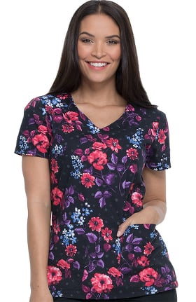 EDS Essentials by Dickies Women's V-Neck Blooming Twilight Print Scrub Top