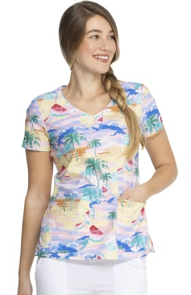 Clearance EDS Essentials by Dickies Women's California Dream Print Scrub Top