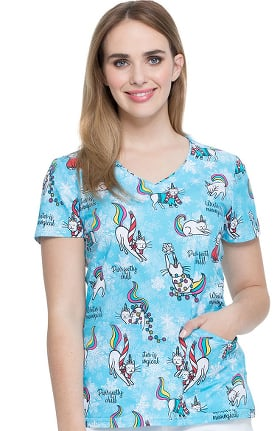 Clearance EDS Essentials by Dickies Women's V-Neck Cool Caticorn Print Scrub Top