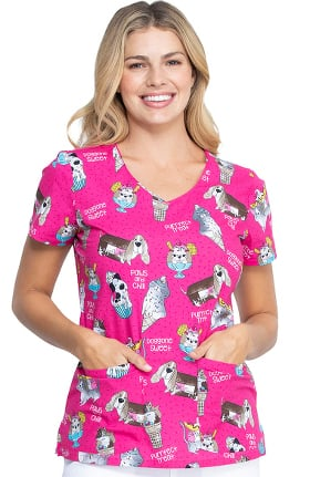 Clearance EDS Essentials by Dickies Women's Doggone Sweet Print Scrub Top
