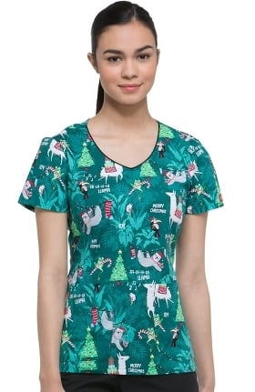 EDS Signature by Dickies Women's V-Neck Llama Print Scrub Top