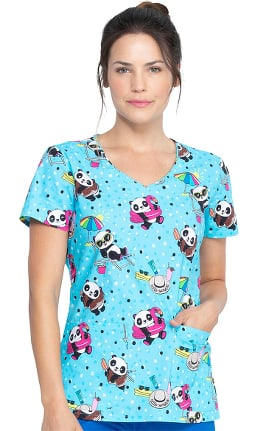 EDS Essentials by Dickies Women's Hello Sunshine Panda Print Scrub Top