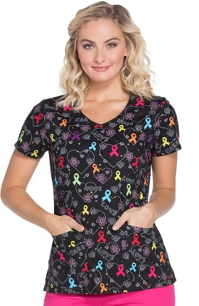 EDS Signature by Dickies Women's V-Neck All Awareness Print Scrub Top