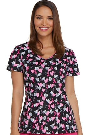 EDS Signature by Dickies Women's V-Neck Heart Print Scrub Top
