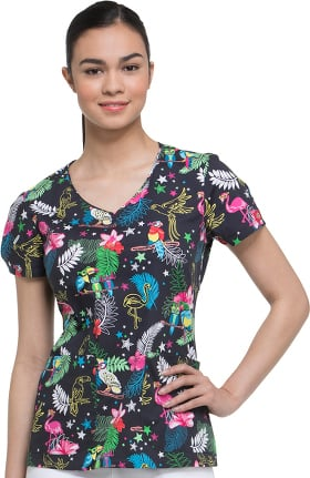 Clearance EDS Signature by Dickies Women's V-Neck Tropical Print Scrub Top