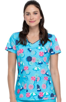 Clearance EDS Essentials by Dickies Women's Made In The Shade Print Scrub Top