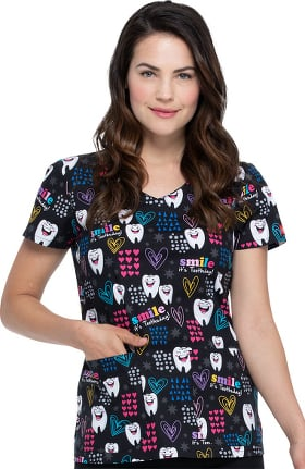 Clearance EDS Signature by Dickies Women's Smile Its Toothsday Print Scrub Top