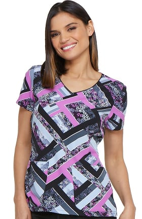 Clearance Fashion Prints by Dickies Women's V-Neck Floral Print Scrub Top