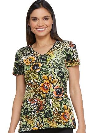Fashion Prints by Dickies Women's V-Neck Floral Print Scrub Top