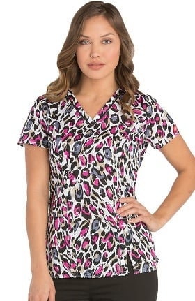 Clearance Xtreme Stretch by Dickies Women's V-Neck Animal Print Scrub Top