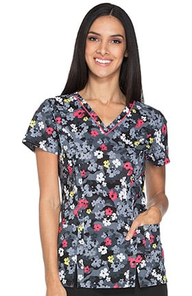 Fashion Prints by Dickies Women's V-Neck Camo Print Scrub Top