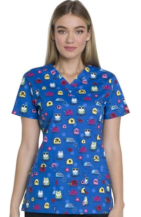 EDS Essentials by Dickies Women's V-Neck Frog Print Scrub Top