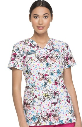 EDS Signature by Dickies Women's V-Neck Dragonfly Print Scrub Top