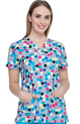 EDS Essentials by Dickies Women's V-Neck Dots My Line Print Scrub Top
