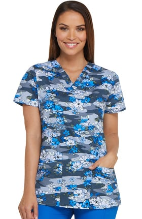 EDS Signature by Dickies Women's V-Neck Floral Print Scrub Top