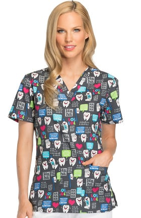 EDS Signature by Dickies Women's V-Neck Dental Print Scrub Top