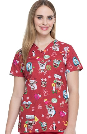 Clearance EDS Essentials by Dickies Women's V-Neck Hello Christmas Print Scrub Top