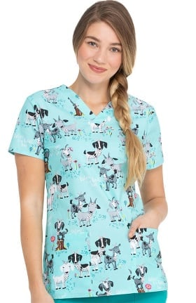 EDS Essentials by Dickies Women's Ive Goat This Print Scrub Top