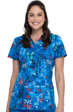 Clearance EDS Essentials by Dickies Women's Peace Love Butterflies Print Scrub Top